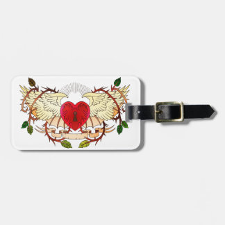 vintage tattoo of a winged heart luggage tag