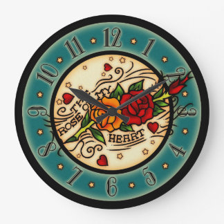 Vintage Tattoo Rose Of My Heart Large Clock
