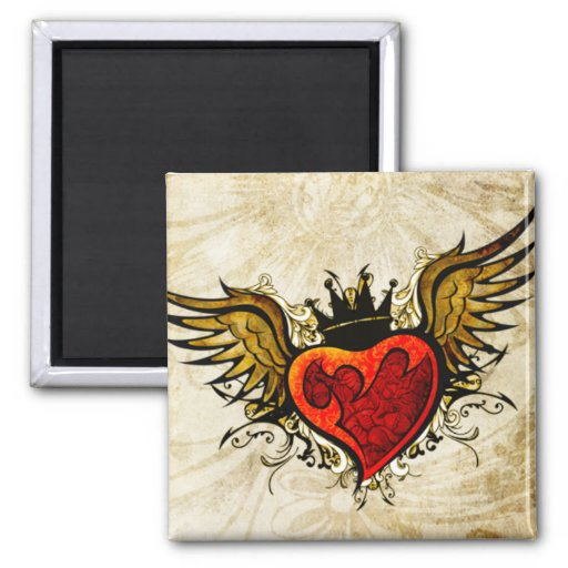 Vintage Tattoo Winged Heart  Magnet