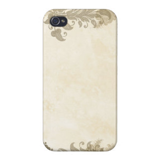 Vintage Taupe Lace Border on Blush iPhone 4 Cover