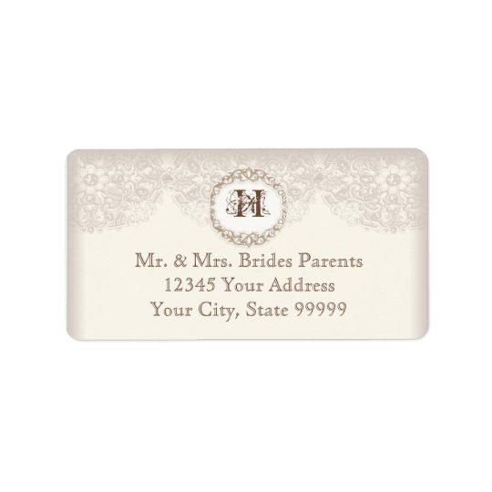 Vintage Taupe Lace - Elegant Beautiful Weddings Address Label