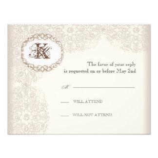 Vintage Taupe Lace - Wedding Response Card Custom Invite