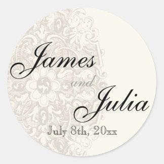 Vintage Taupe Lace - Wedding Seal Round Sticker