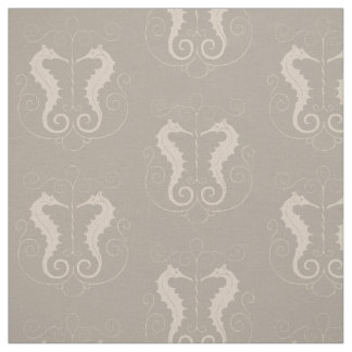 Vintage Taupe Sea Horses Fabric