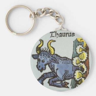 Vintage Taurus Bull, Antique Signs of the Zodiac Basic Round Button Key Ring