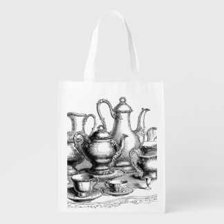 Vintage Tea and Coffee Set Illustration Reusable Grocery Bag
