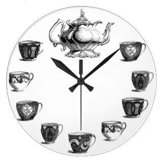 vintage tea clock white background