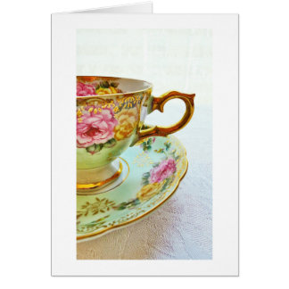 Vintage Tea Cup Blank Card Get Well/Thank You