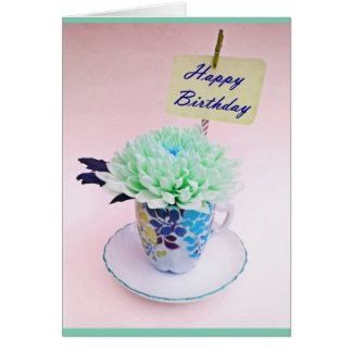 Vintage Tea Cup Floral Tea Party Birthday Card