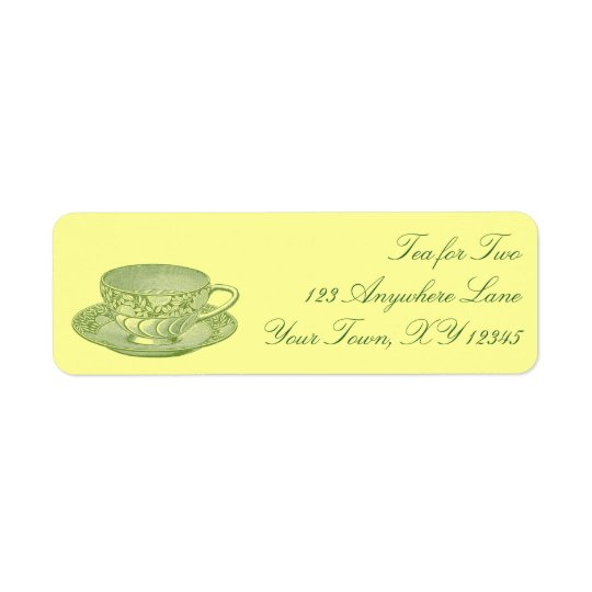 Vintage Tea Cup Return Address Label