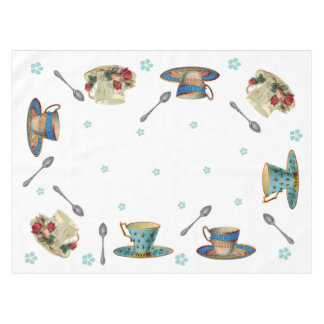 Vintage Tea Cups Table Cloth
