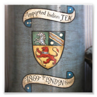 vintage tea jar coat of arms london art photo