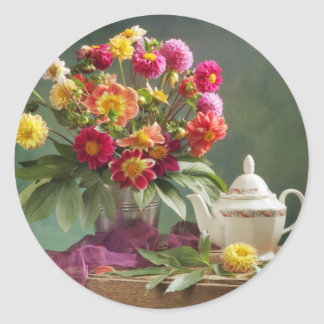 Vintage Tea Time Classic Round Sticker