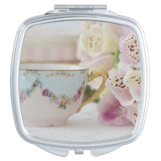 Vintage Teacup and Flowers Compact Mirror