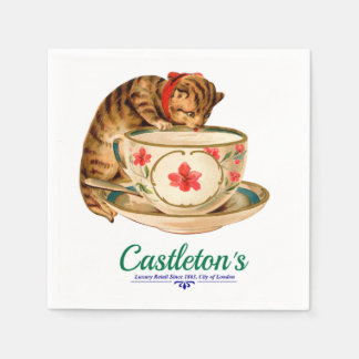 Vintage teacup and kitten poster for London store Disposable Serviette