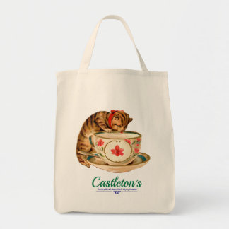Vintage teacup and kitten poster for London store Grocery Tote Bag