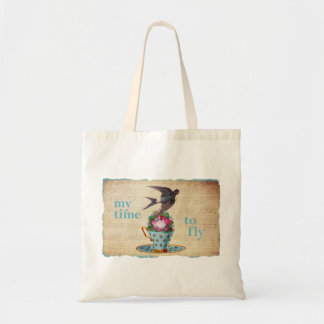 Vintage Teacup Roses and Flying Swallow Bird Budget Tote Bag