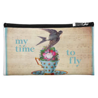 Vintage Teacup Roses and Flying Swallow Bird Cosmetics Bags