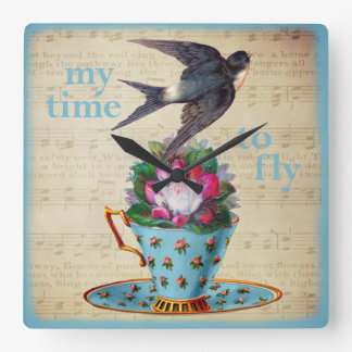 Vintage Teacup Roses and Flying Swallow Bird Square Wall Clock