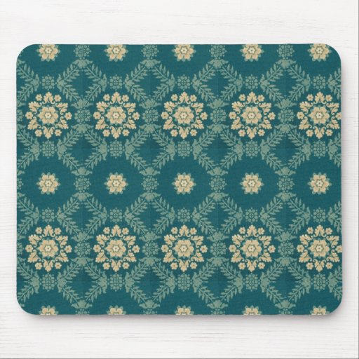 Vintage Teal and Beige Floral Fabric Mousepad