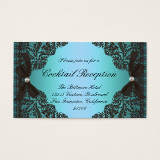 Vintage Teal and Black Lace Response Cards