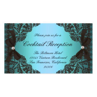 Vintage Teal and Black Lace Response Cards Pack Of Standard Business Cards