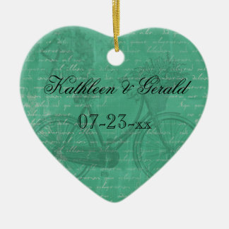 Vintage Teal Bicycle  Heart Keepsake Ornament