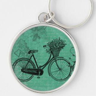 Vintage Teal Bicycle Keychain