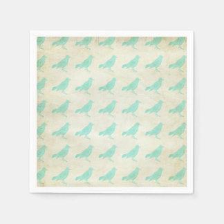 Vintage Teal Bird Pattern Napkins Paper Napkin