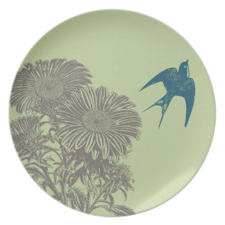 Vintage Teal Bird Vintage Gerber Daisy Dinner Plate