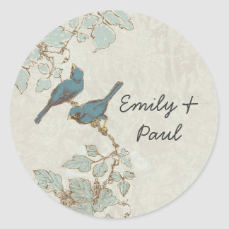 Vintage Teal Bird Wedding Seal Round Sticker