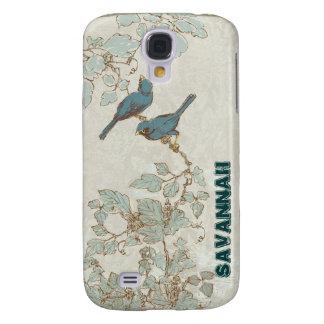 Vintage Teal Birds Branch iPhone Case Samsung Galaxy S4 Case