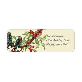 Vintage Teal Birds Burgundy Flowering Branch Label