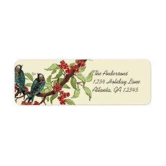 Vintage Teal Birds Burgundy Flowering Branch Label