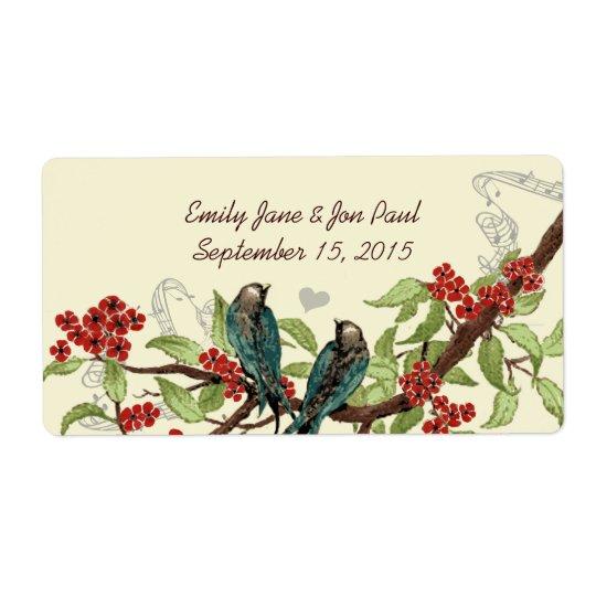 Vintage Teal Birds Burgundy Flowering Branch Label Shipping Label