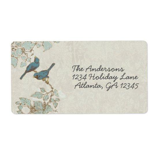 Vintage Teal Birds Damask Wedding Label Shipping Label