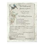 Vintage Teal Birds Damask Wedding Program 17 Cm X 22 Cm Invitation Card
