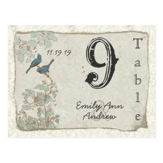 Vintage Teal Birds Damask Wedding Table Number Postcard