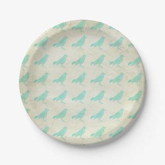 Vintage Teal Birds Paper Plate