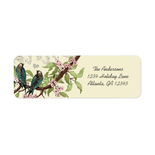 Vintage Teal Birds Pink Flowering Branch Label