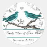 Vintage Teal Birds Wedding Stickers