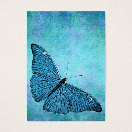 Vintage Teal Blue Butterfly 1800s Illustration Business Card
