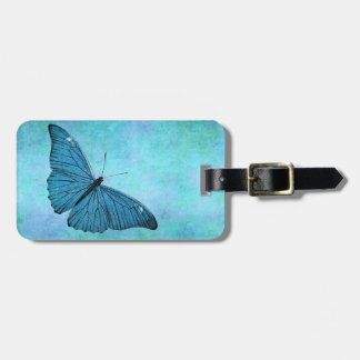 Vintage Teal Blue Butterfly 1800s Illustration Luggage Tag