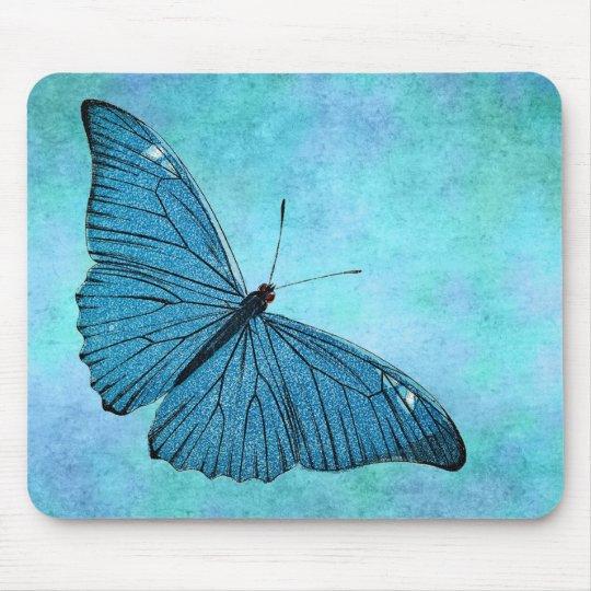 Vintage Teal Blue Butterfly 1800s Illustration Mouse Mat