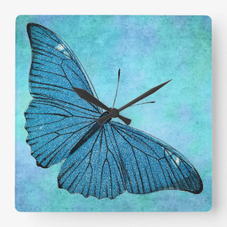 Vintage Teal Blue Butterfly 1800s Illustration Square Wall Clock