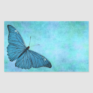 Vintage Teal Blue Butterfly 1800s Illustration Rectangular Stickers