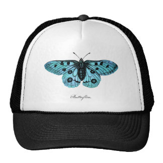 Vintage Teal Blue Butterfly Drawing - Butterflies Cap