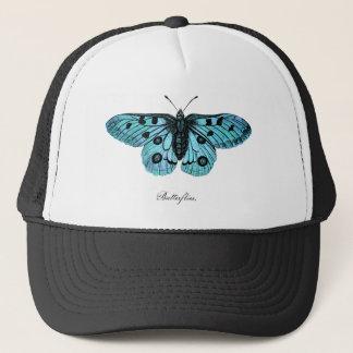 Vintage Teal Blue Butterfly Drawing - Butterflies Trucker Hat