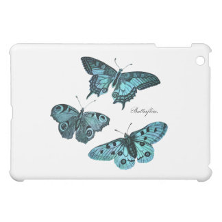 Vintage Teal Blue Butterfly Illustration - 1800's iPad Mini Covers