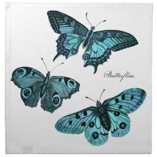 Vintage Teal Blue Butterfly Illustration - 1800's Napkin